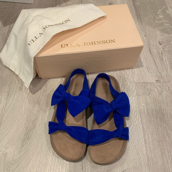 Ulla Johnson Shoes - ULLA JOHNSON ABRIL SUEDE SLIDE SANDAL COBALT